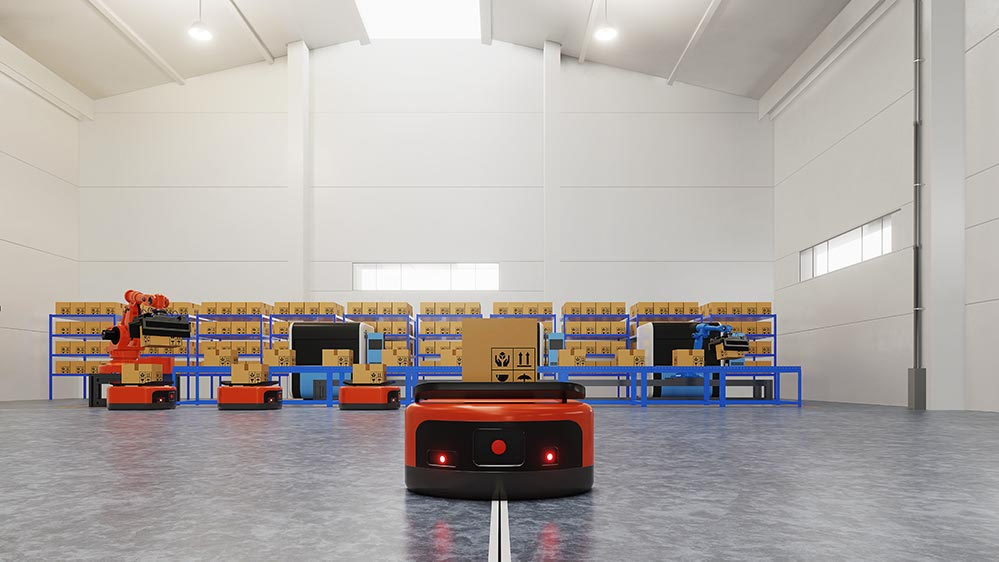 Factory automation with agv laser robotic arm transportation